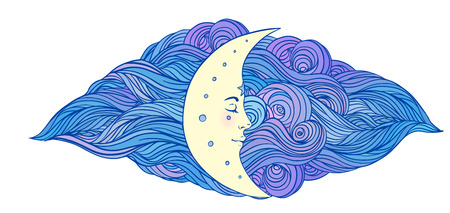crescent moon: Moon and stars. Vector illustration in vintage engraving style. Illustration