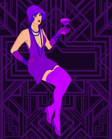 flapper: Chica de la aleta: plantilla de diseño retro de la invitación del partido. Ilustración del vector.