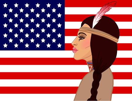 trenzas en el cabello: Belleza americana: hermosa mujer india americana con el pelo trenzado y la pluma. Ilustraci�n del vector.