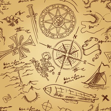 adventure: Vintage Adventures: seamless pattern. Vector illustration. Illustration