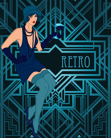 flapper: Flapper girl: Retro party invitation design template. Vector illustration.