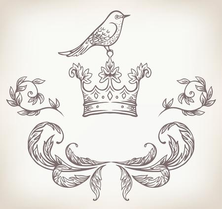 gilt: Vintage ornate ribbon frame with a bird Illustration