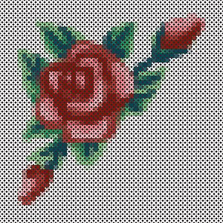 bordado: Bordado, cruz Vintage puntada Rose y ramo de flores, antigüedad diseño coser la costura aisladas sobre fondo negro.