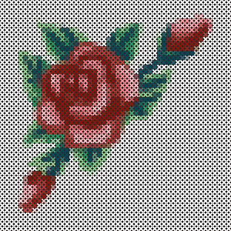 cross stitch: Embroidery, Vintage cross stitch Rose and flower bouquet, antique needlework sewing design isolated on black background.