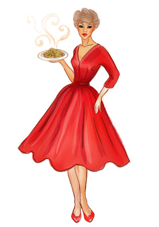 new look: Pretty retro sexy pinup girl in a red new look style dress displaying pasta dish. Illustration isolated on white. Full length portrait.