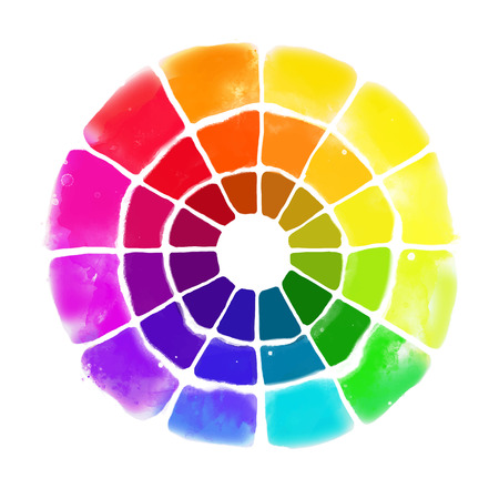 Handmade color wheel. Isolated watercolor spectrum. Vector illustration. Vettoriali