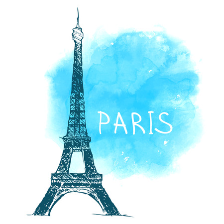 World famous landmark series: Eiffel Tower, Paris, France. Watercolor vector illustration. Иллюстрация