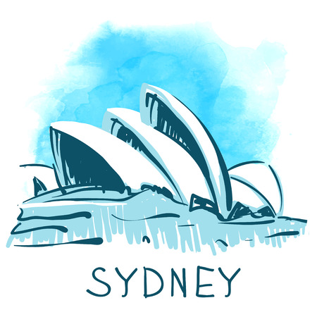 sydney: Sydney Opera House, Sydney, Australia. World famous landmark series: watercolor vector illustration