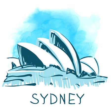 sydney australia: Sydney Opera House, Sydney, Australia. World famous landmark series: watercolor vector illustration