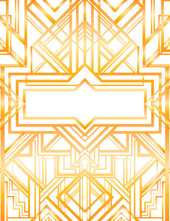 ヴィンテージ背景。ゴールドと白のレトロなスタイルのシームレスなパターン。1920 年代  イラスト・ベクター素材