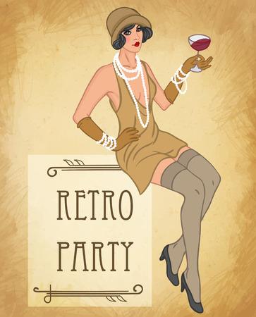 feather boa: Flapper girl: Retro party invitation design template. Vector illustration.
