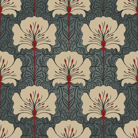 진한 녹색 배경에 베이지 색 꽃 원활한 패턴입니다. 아르누보 스타일.