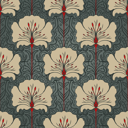 styles: Seamless pattern with beige flowers on dark green background. Art nouveau style.