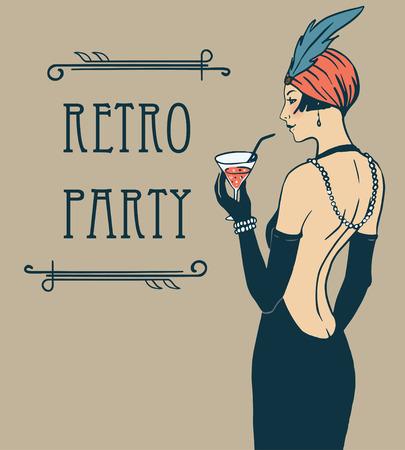 Ragazza Flapper: Retro Modello di disegno dell'invito del partito. Illustrazione vettoriale.