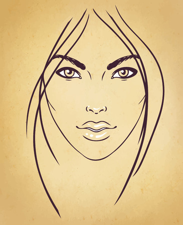 face make up: Face chart Makeup Artist Blank. Template. Vector illustration.