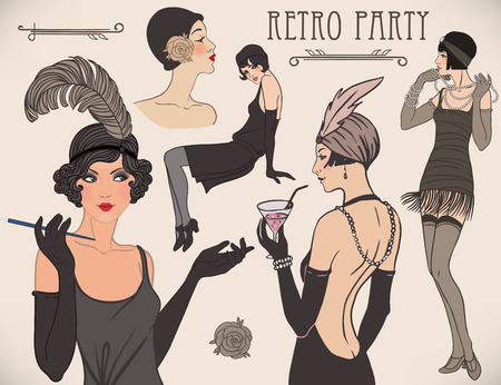 pretty dress: Flapper girl set: retro women of twenties. Vector illustration. Illustration