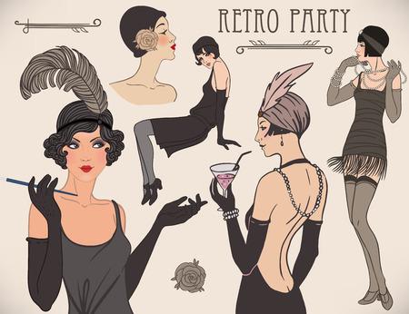 Flapper girl set: retro women of twenties. Vector illustration. Stock Illustratie
