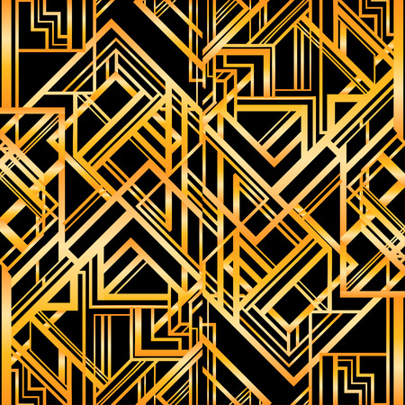 30s: Vintage background. Retro style seamless pattern in gold and white. 1920s