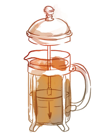 press: French press with coffee or tea, watercolor illustration