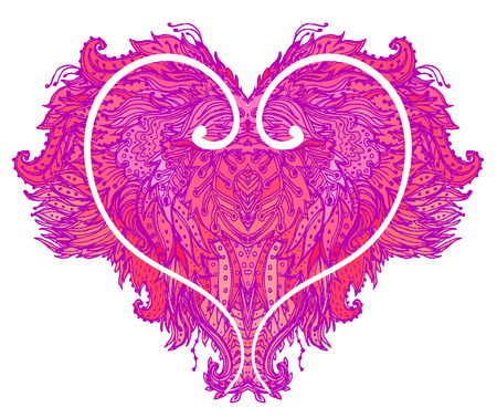 magenta: Ornate pink patterned heart isolated on white. Vector illustration.