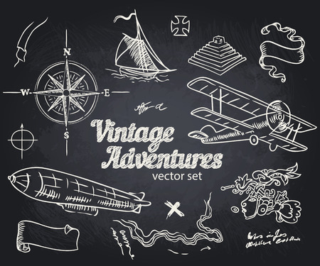 schooner: Vintage Adventures: vector set. Design elements
