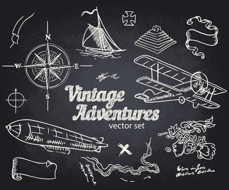carte trésor: Vintage Adventures: Vector set. Les éléments de conception