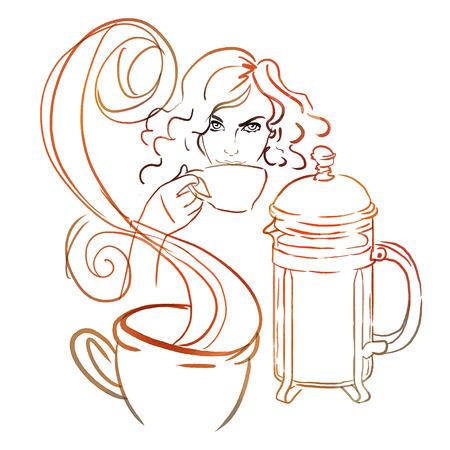 despertarse: Hermosa chica pelirroja beber café caliente por la mañana o el té. Ilustración de la acuarela.