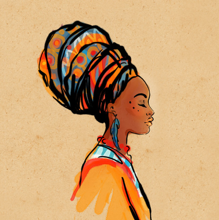 face profile: Portrait of beautiful African woman with earring (profile view)
