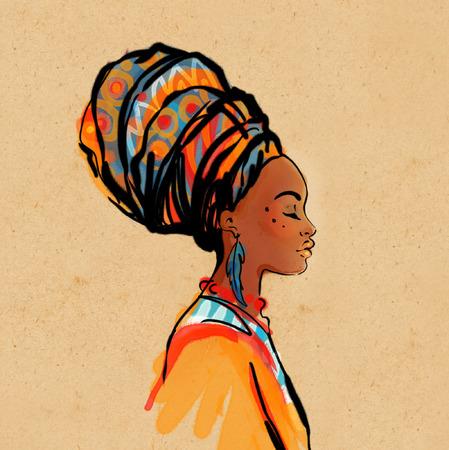 arte africano: Retrato de la hermosa mujer africana con el pendiente (ver perfil)