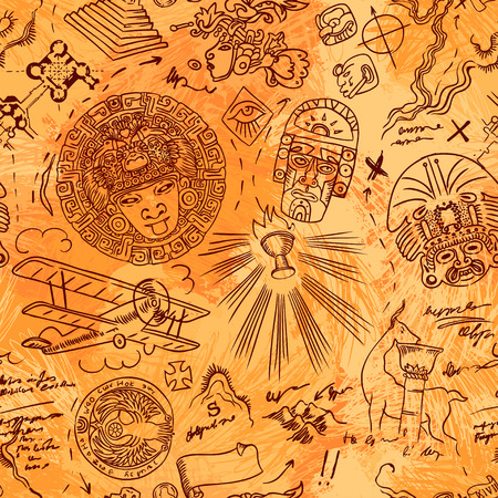grail: Vintage Adventures: seamless pattern. Vector illustration. Illustration