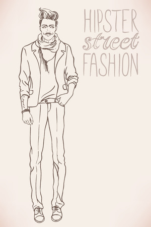 full length portrait: Urban style: Hipster fashion trendy men. Full length vector portrait. Illustration