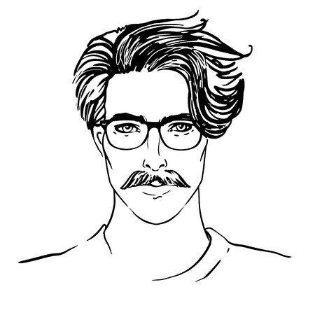 beard man: Hipster. Vector of a man face with beard