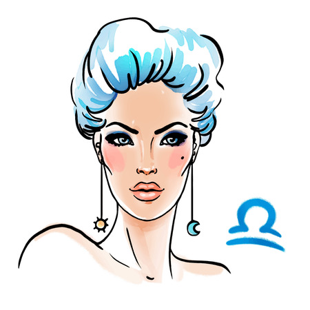 Libra zodiac sign as a beautiful girl. Ink and watercolor fashion vector illustration Vettoriali