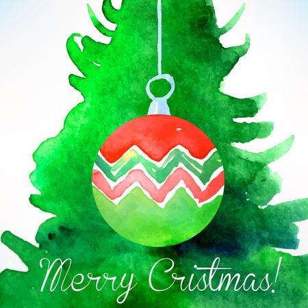 decoration design: Christmas ball. Christmas decoration. Watercolor Christmas design