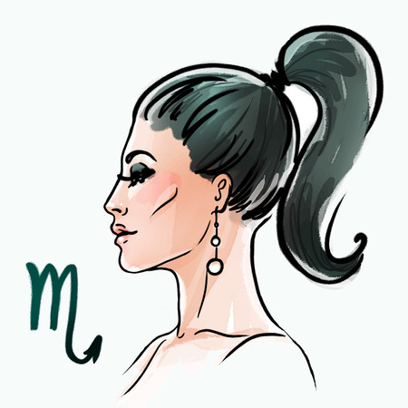 Scorpio zodiac sign as a beautiful girl. Ink and watercolor fashion illustration
