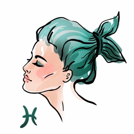 bonito: Piscis signo del zodiaco como una hermosa chica. Tinta y acuarela de la moda vector ilustración