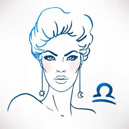 libra zodiac: Libra zodiac sign as a beautiful girl. Ink and watercolor fashion vector illustration Illustration