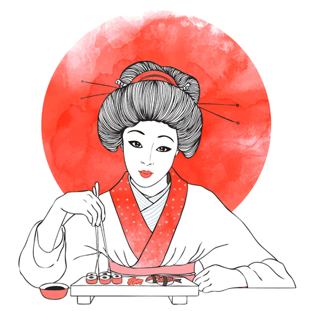 traditional illustration: Traditional Japanese pretty girl enjoy sushi. Vector illustration. Menu template Illustration