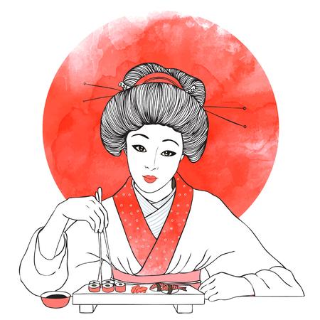 susi: Traditional Japanese pretty girl enjoy sushi. Vector illustration. Menu template Illustration