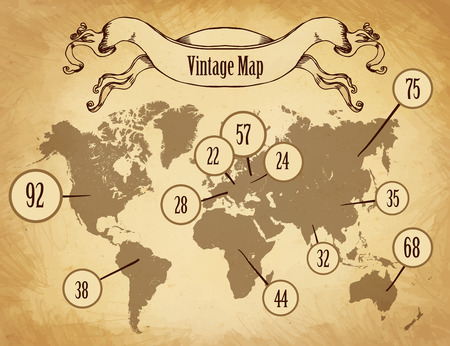 ancient map: Vintage map for infographics, vector illustration
