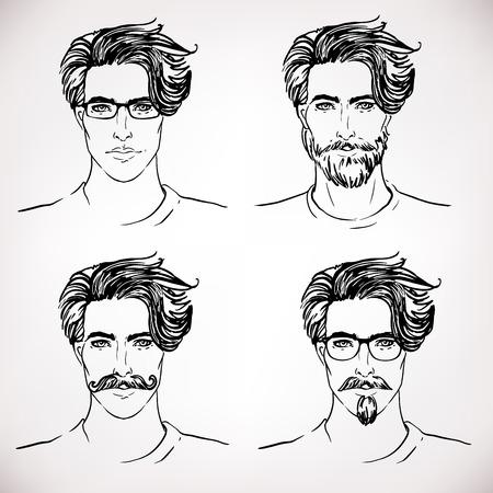 bocetos de personas: Hipster. Vector de una cara del hombre con la barba