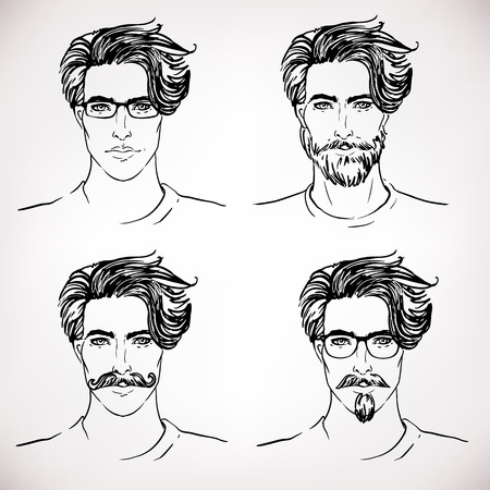 boy with glasses: Hipster. Vector of a man face with beard