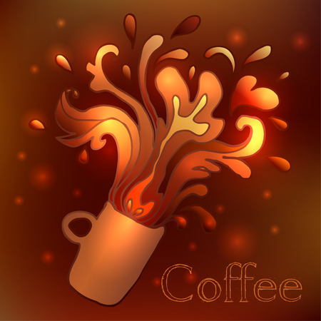 cup  coffee: Cup of coffee with splash. Vector illustration. Illustration