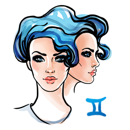 Gemini zodiac sign as a beautiful girl. Ink and watercolor fashion vector illustration