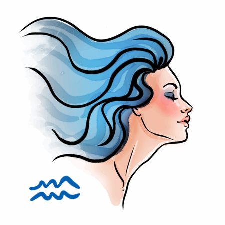 quarius zodiac sign as a beautiful girl. Ink and watercolor fashion vector illustration Vectores