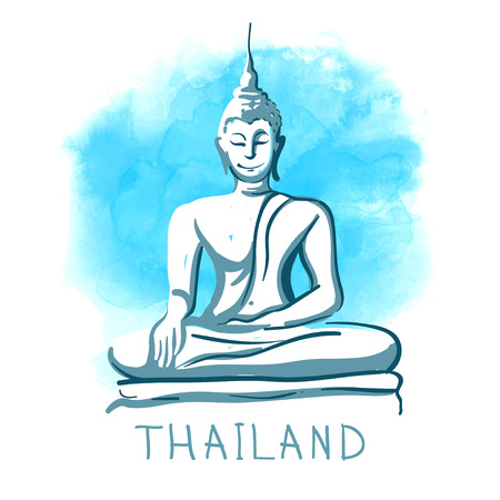 buddha: World famous landmark series: Statue of Sitting Buddha, Thailand. Watercolor vector illustration.