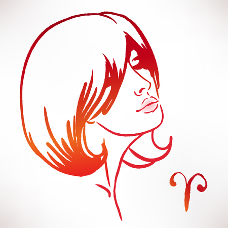 girl face: Aries zodiac sign as a beautiful girl. Ink and watercolor fashion vector illustration