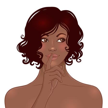 silencio: Hermosa mujer afroamericana con los hombros desnudos