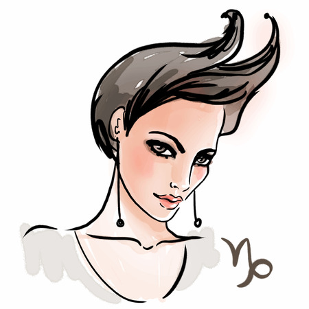 Capricorn zodiac sign as a beautiful girl. Ink and watercolor fashion vector illustration