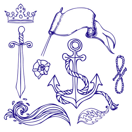 anchored: Hand drawn old school looking marine sketches set